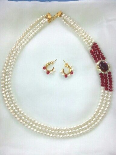 Pearl necklace with earrings. Leesa Shah's creation!