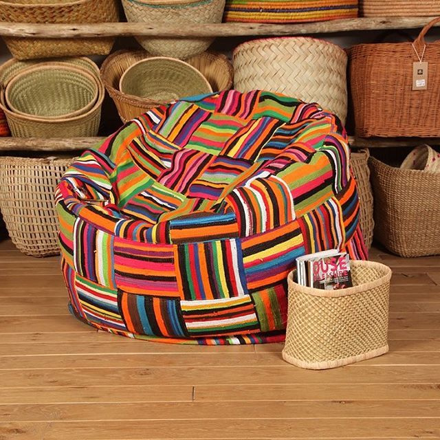 Big Bori Bori Bean Bag / Round bean bag made up of upcycled material