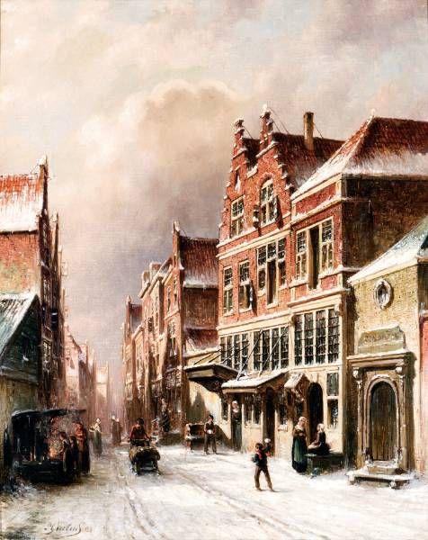 Petrus Gerardus Vertin - Winters straatje met sneeuwballengooiers en figuren bij een vuurkorf (1883)