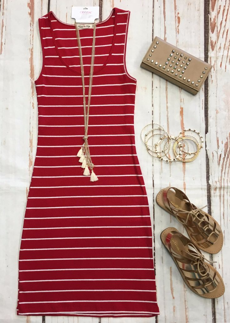 Ribbed Striped Tank Dress: Red | Summer ootd, Kimonos and ...