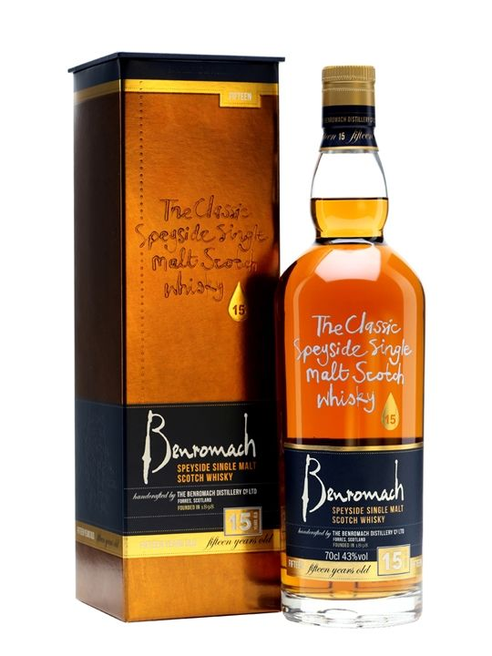 A 2015 addition to the core range, Benromach 15 Year Old is aged in a combination of bourbon and sherry casks. Luscious and rich with notes of fruit cake, plums and cocoa.