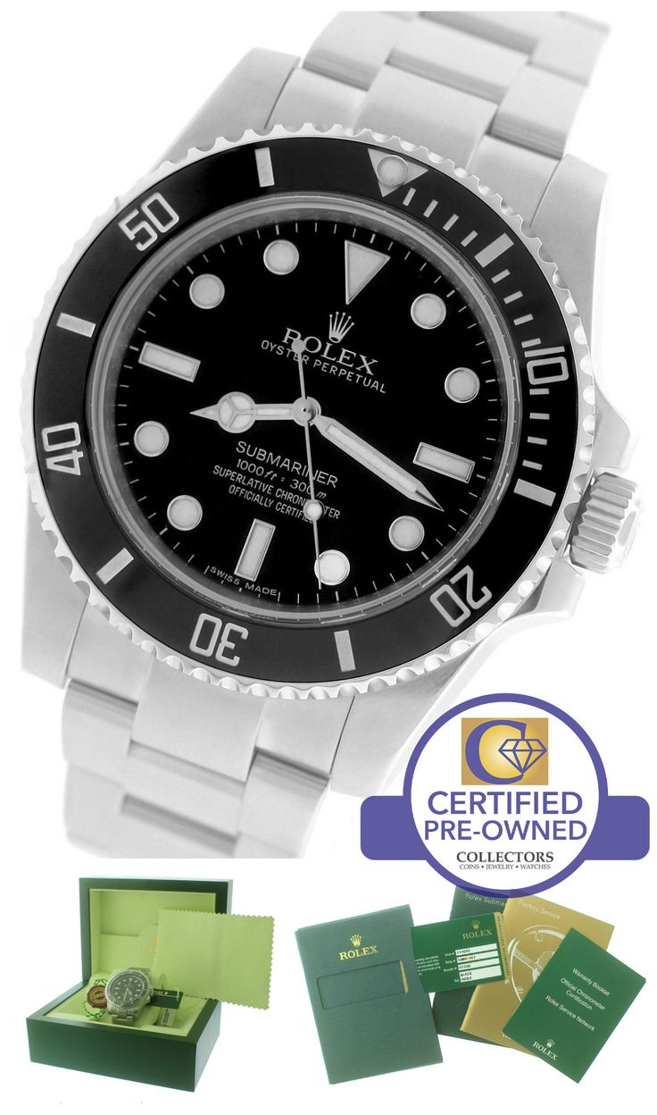 2013 Rolex Submariner No-Date 114060 Stainless Black Dive Ceramic 40mm Watch