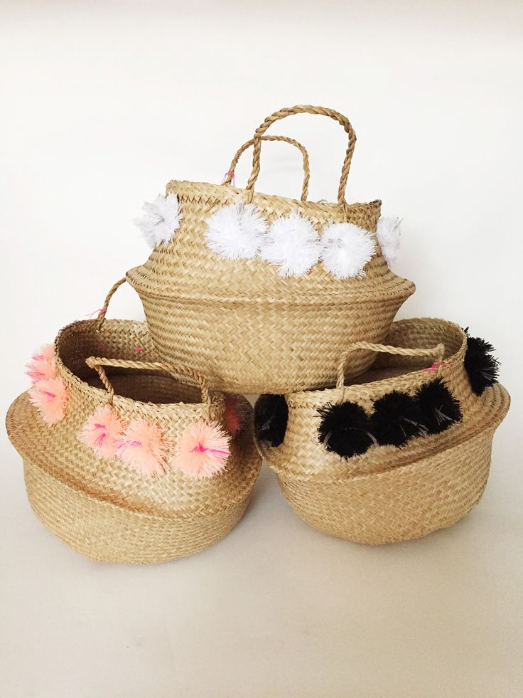 Wicker Basket With Pom Poms : Eliza gran pom basket large objects