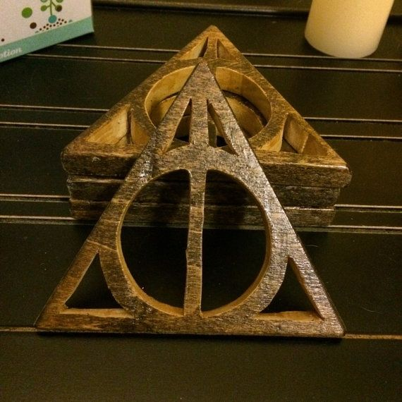 Deathly Hallows Coasters Handmade wooden by KingsburyClassics