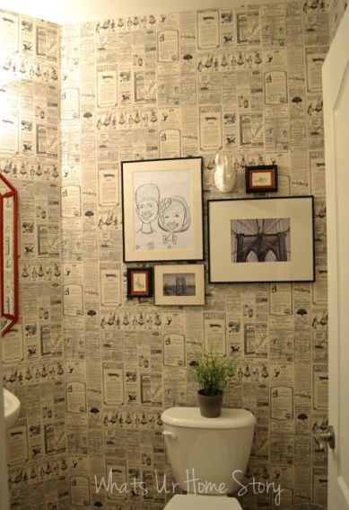 Newspaper wall paper in the powder room! More pics and how to at www.whatsurhomestory.com