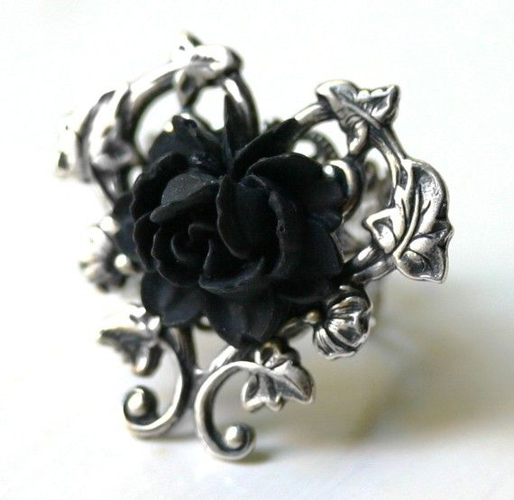 Victorian Black Rose Ring in Silver by robinhoodcouture on Etsy, $32.00