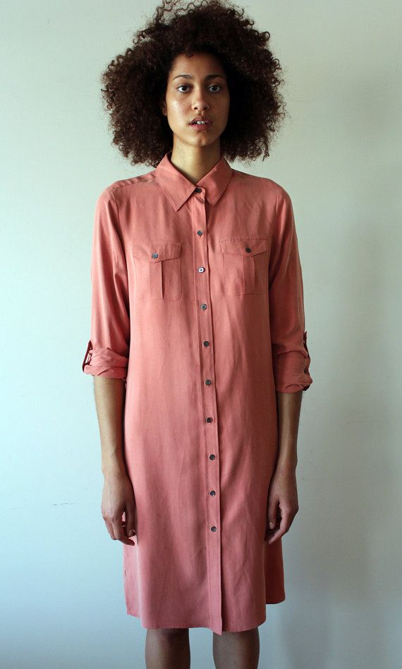 90s Salmon Silk Shirt Dress