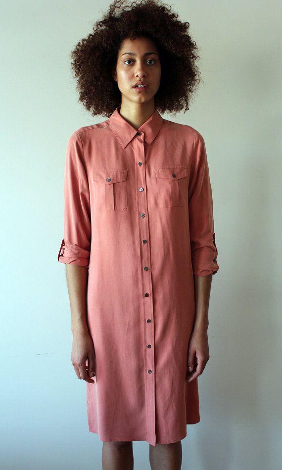 90s Salmon Silk Shirt Dress