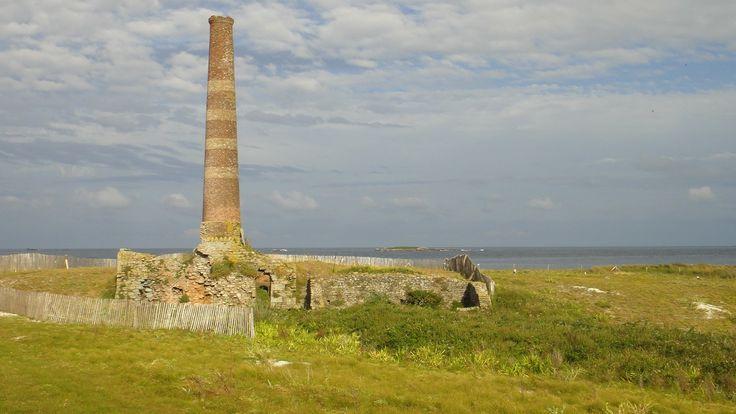 Les Glénan.  L'île du Loc'h, avec une ancienne ferme et un étang d'eau saumâtre, est la propriété de la famille Bolloré. C'est la plus grande en superficie. Le baron Fortuné Halna du Fretay tenta l'exploitation d'une pisciculture dans cet étang.  Il modernisa également les techniques de brûlage du goémon en faisant construire un véritable four d'usine en 1874. La cheminée de cette ancienne installation de fabrication de soude destinée à l'industrie pharmaceutique sert maintenant d'amer.