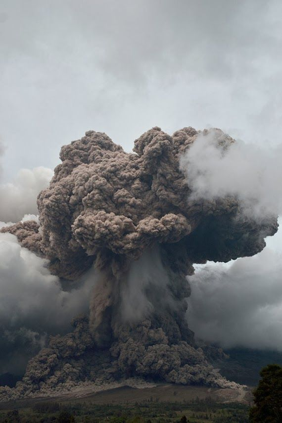 February 8, 2014 - Terrifying Sinabung Volcano Eruption. Pyroclastic flow as well as a towering cloud of tephra and gases
