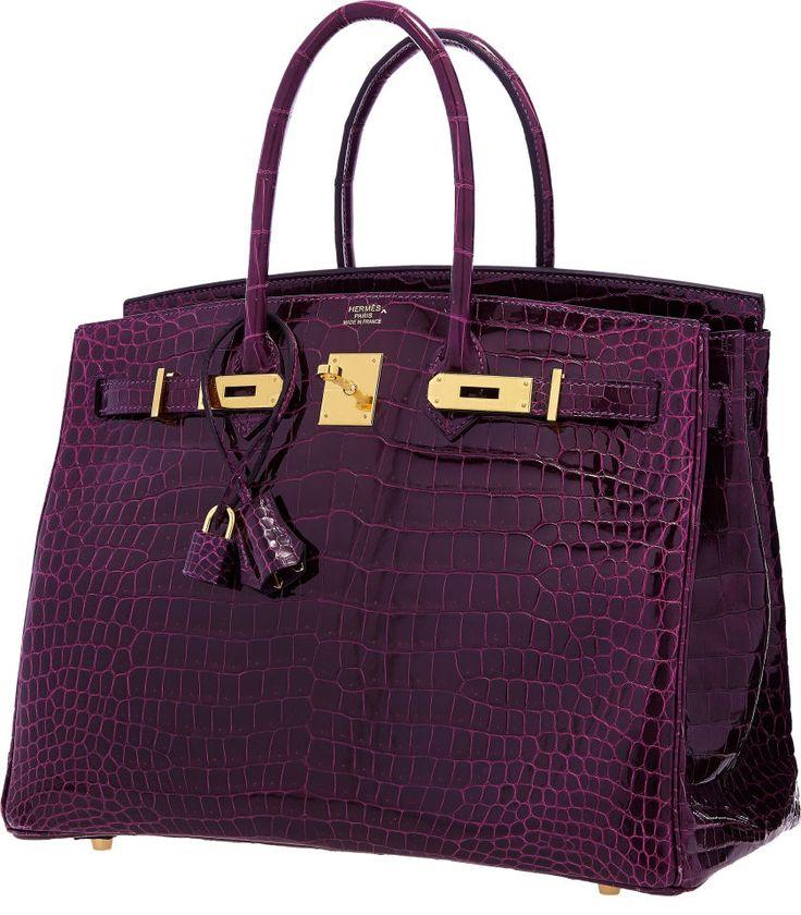 Hermes 35cm Shiny Amethyst Porosus Crocodile Birkin Bag with Gold Hardware