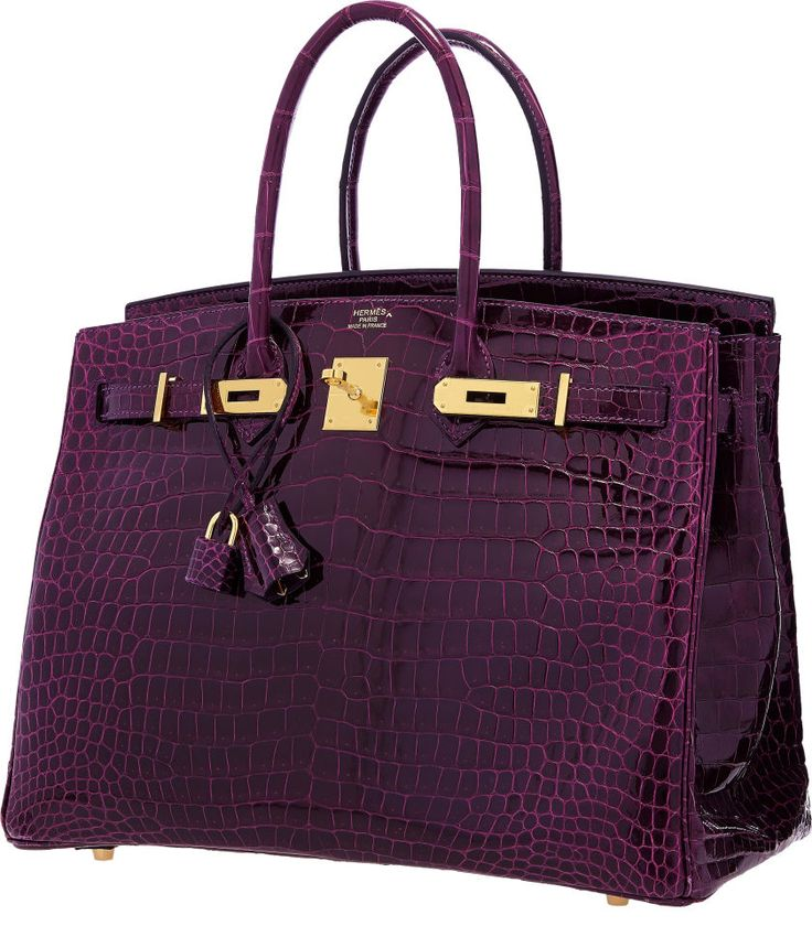Hermes 35cm Shiny Amethyst Porosus Crocodile Birkin Bag with Gold Hardware
