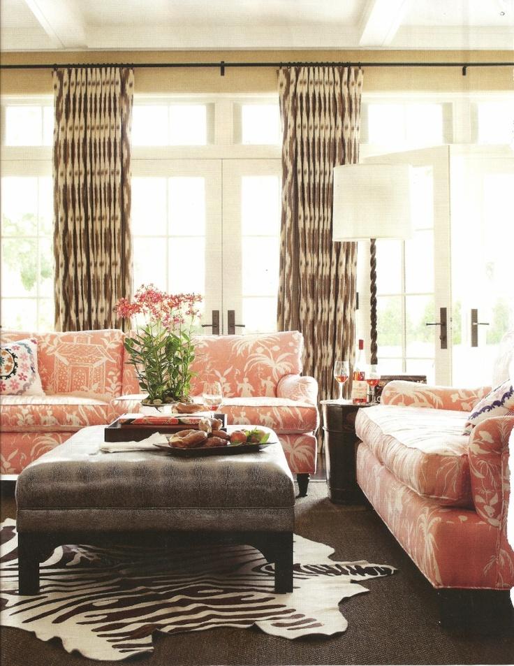 burnhamDecor, Pink Sofa, House Beautiful, Classic Tudor, Living Room Design, Colors, Interiors, Families Room, Betsy Burnham