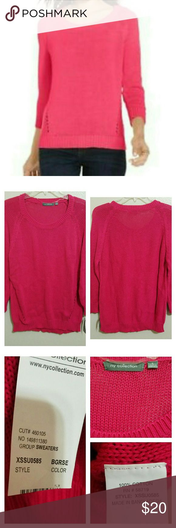 🆕NY Collection Hot Pink Sweater Beautiful knit sweater that will make your wardrobe pop! Pics 2 and 3 are of actual sweater you are purchasing. NY Collection Sweaters