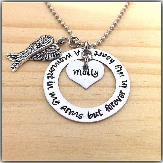 A Moment In My Arms But Forever In My Heart  Hand Stamped Necklace Double Angel Wing Charm Miscarriage Jewelry on Etsy, $25.95
