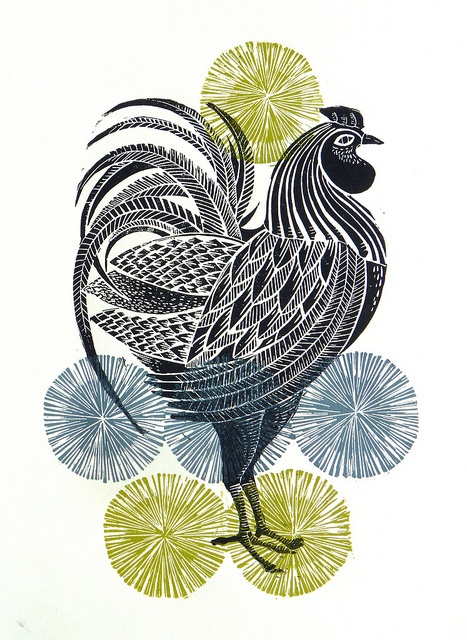 cockerel linocut print by Mangle Prints, chicken, printmaking, print, design, illustration, colour