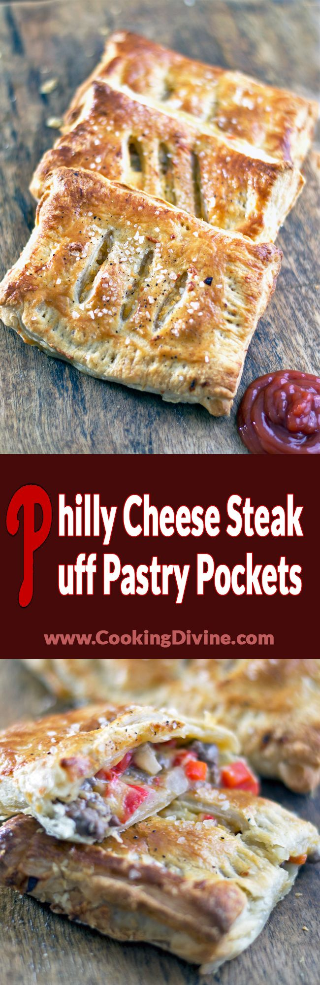 Philly Cheesesteak Puff Pastry Pockets Recipe: Philadelphia is my favorite city in the US so it is about freaking time that I did a recipe involving around the place!  So here we go, I have turned the cheesesteak into a homemade puff pastry or in other terms, a gourmet Hot Pocket.