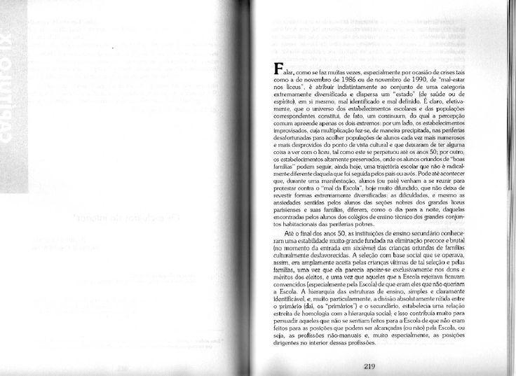 BOURDIEU, Pierre. Escritos da Educação. A eliminação branda (La Eliminación blanda)