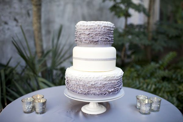 A beautiful ombre lavender frill cake. Delicious!    Photographer: Millie Holloman