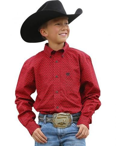 Cinch Boy's Long Sleeve Red Herringbone Shirt