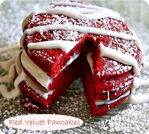 Fluffy Red Velvet Pancakes with Cream Cheese Glaze