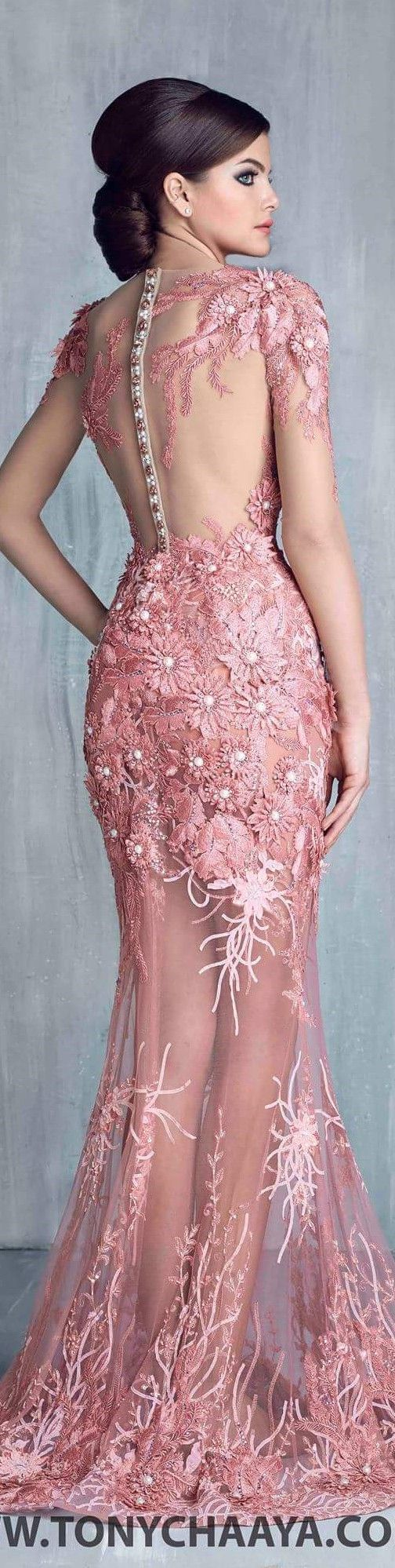 Tony Chaaya couture 2016 coral lace dress women fashion outfit clothing style apparel @roressclothes closet ideas