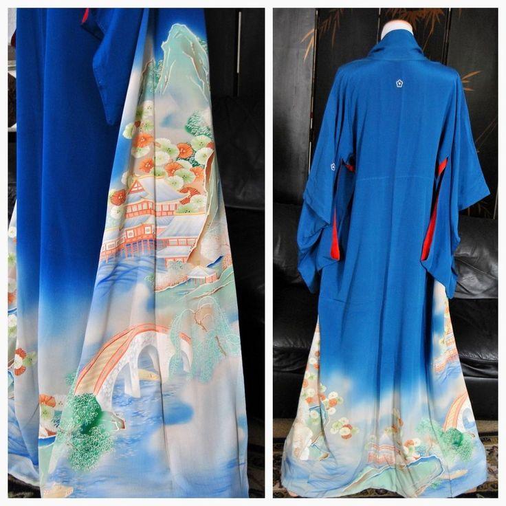Antique Geisha Gion Kimono, 1940s Japanese Silk Robe, Authentic, Yuzen, Kimono