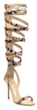 Giuseppe Zanotti Giuseppe for Jennifer Lopez 105 Snake-Print Leather Lace-Up Sandals - $1,295.00
