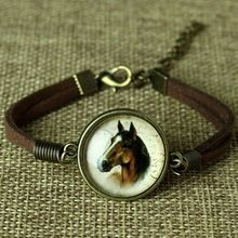 Glas Galaxy Armbanden Lederen Armband Dier Paard Kat Herten Armband Mode-sieraden Voor Vrouwen Leuke Sieraden Bijoux(China (Mainland))