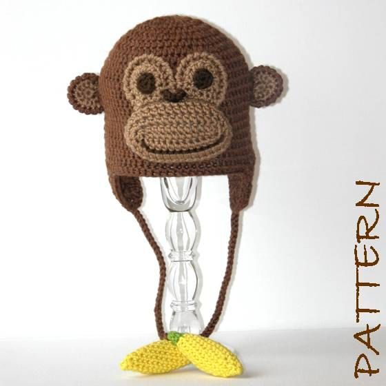 Crochet Animal Hat Pattern - Monkey Earflap Critter Hat - 4 sizes (6 months to adult). $7.95, via Etsy.