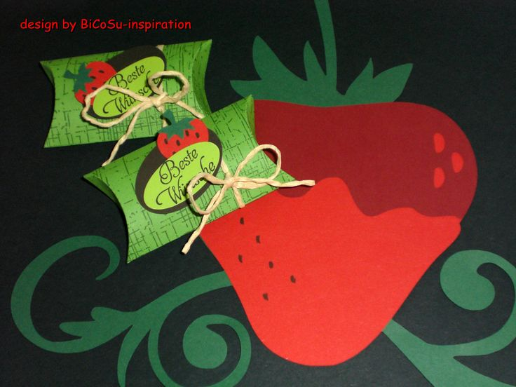 Geschenkverpackung Erdbeere - Pillow Box Strawberry - template from stampin up