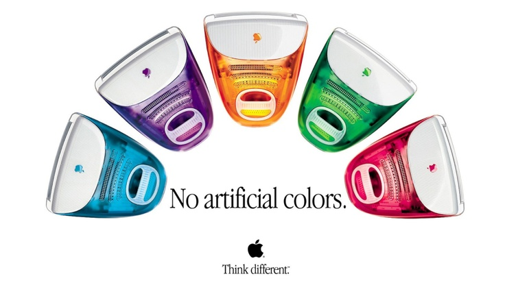 Great article about Design Driven Brands. Picture: iMac Ad - No Artificial Colors