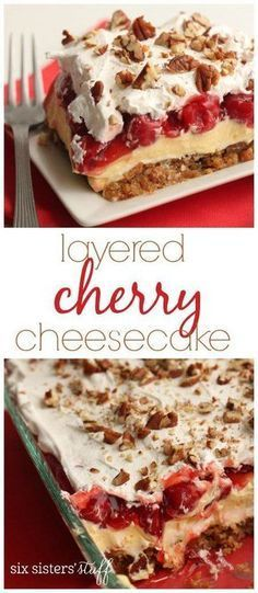 Layered Cherry Cheesecake recipe from SixSistersStuff.com   Try this light and delicious 25 minutes dessert made with a vanilla wafer crust and a pudding and cream cheese filling. Your family is going to love this!