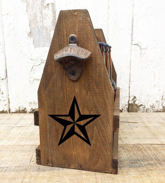 Texas Star Custom Growler Wooden Beer Tote