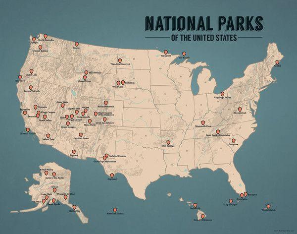 US National Parks Map Print - Tan & Juniper