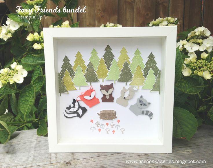 Stampin' Up! Foxy Friends, Stampin' Up! perfect pines, creatief schilderij, 3-D schilderij, Ribba, Ikea, dierenschilderijtje, Stampin' Up! ponsen, Stampin' Up! stansen, Foxy builder punch, Foxy Friends stampset, Stampin' Up! stempels, stempelen, punchart
