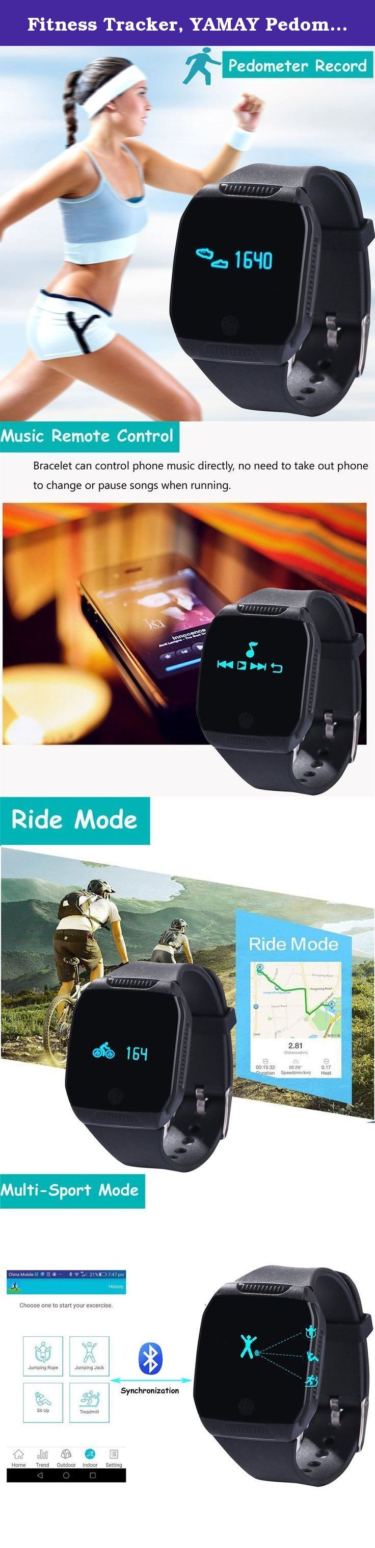 Fitness Tracker, YAMAY Pedometer Watch Band Waterproof for Android iPhone Women Men Activity Tracker Calories Burned Distance Alarm Sleep Monitor Text Notification for Bike Swimming Running Black. Feature * Touch key and turn wrist operated, wristband and body can be detached. * Function: Pedometer/Kilometer/Calorie record, Riding Record, Swimming record, Skip rope Record, Jumping Jack Record, Sit-up Record, Treadmill Record, Sleep Monitor, Music Remote Control, Camera & Video Remote…