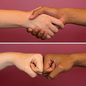 Fist bumps spread less germs than handshakes!  News you can use