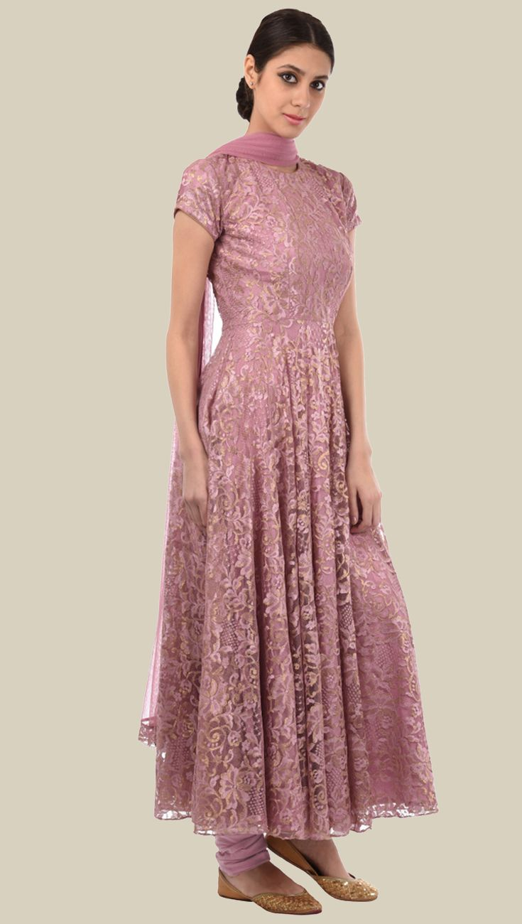 Dusty Rose - Gold Lace Anarkali Suit With Dupatta