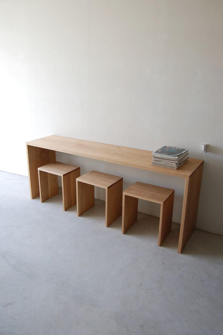 109 | 01_Resize standard furniture Plate table : W1,950 D400 H720 / Solid ash oil finisStandard furniture Plate stool : W400 D300 H440 / Solid ash oil finish