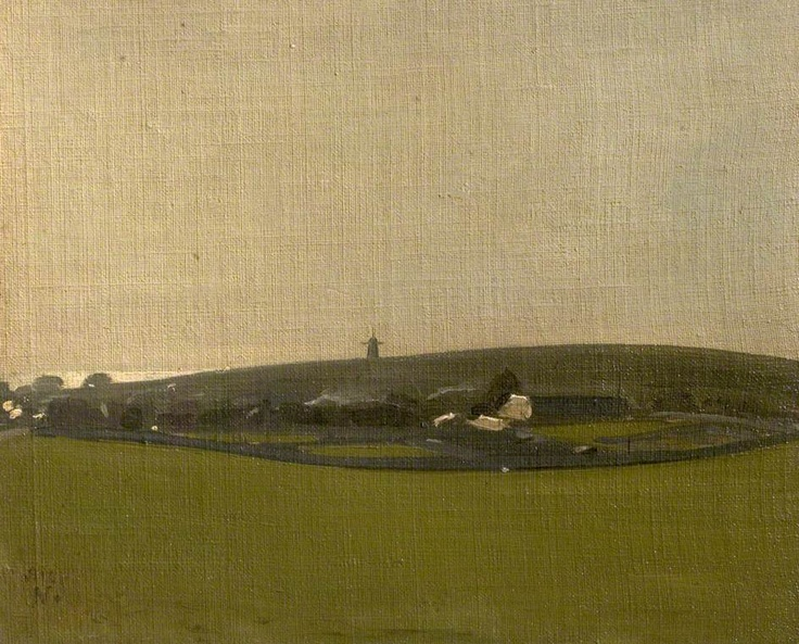 William Nicholson. 'The Windmill, Brighton Downs (Brighton Downs, Rottingdean)'. Oil on canvas. 1910.