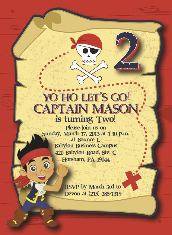 72 best jake and the neverland pirates party images on pinterest, Birthday invitations