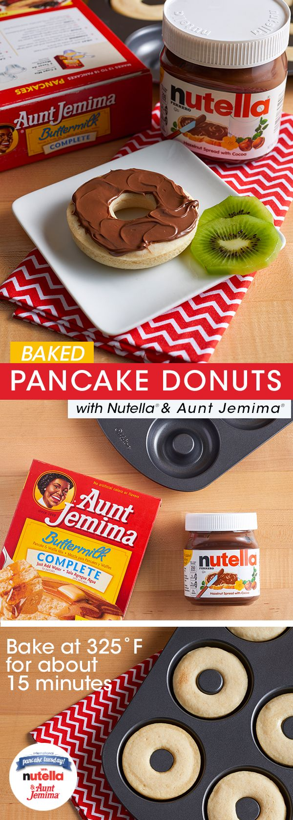 You read right – baked pancake donuts with Nutella® AND they're super easy to make. Whip up a batch of Aunt Jemima® pancake batter and pour into a donut hole pan. Bake at 325˚F for 15 min or until cooked through. Let cool, spread with Nutella and serve. We know: MIND. BLOWN.