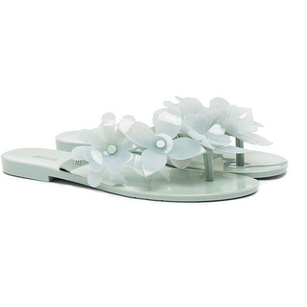 Melissa Harmonic Garden Sky Flip Flop Sandals ($37) ❤ liked on Polyvore featuring shoes, sandals, flip flops, blue, melissa shoes, melissa footwear, blue flower sandals, pvc shoes and melissa flip flops