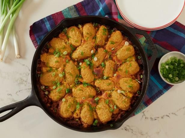 Get Pulled Pork Skillet with Cheesy Jalapeno Cornbread Recipe from Food Network
