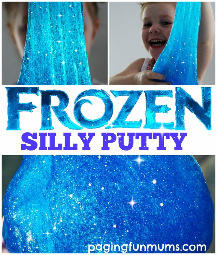 Frozen Silly Putty for all our Frozen fans 1 bottle of Clear School Glue (147ml)  The same amount of water (147 ml)  1/2 teaspoon of Borax (I bought mine from my local hardware store in the cleaning section for $8)  1/2 cup hot water  A few sprinkles of silver & blue glitter  A few drops of blue food colouring