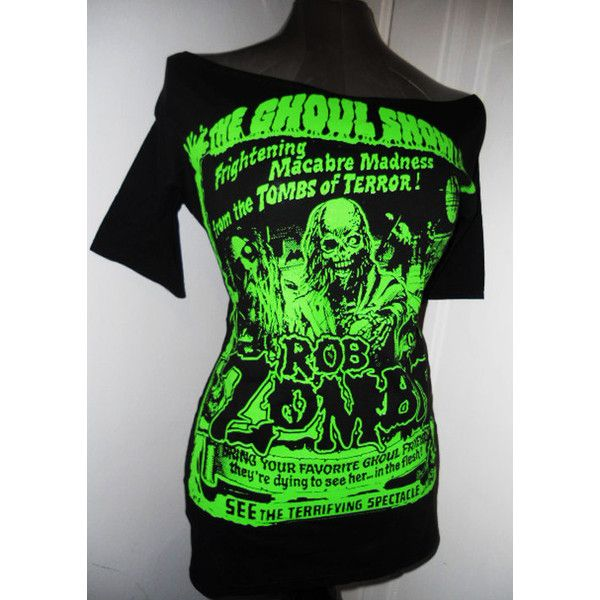 Boat neck 1/2 sleeves ROB ZOMBIE DIY green ghoul ladies band shirt... ($30) ❤ liked on Polyvore