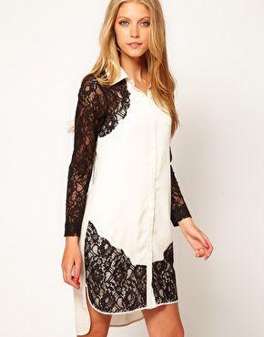 Image 1 ofASOS Shirt Dress With Lace Panels