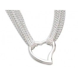 "17"" 4 Strand/Polished 25mm Open Heart Center Necklace"