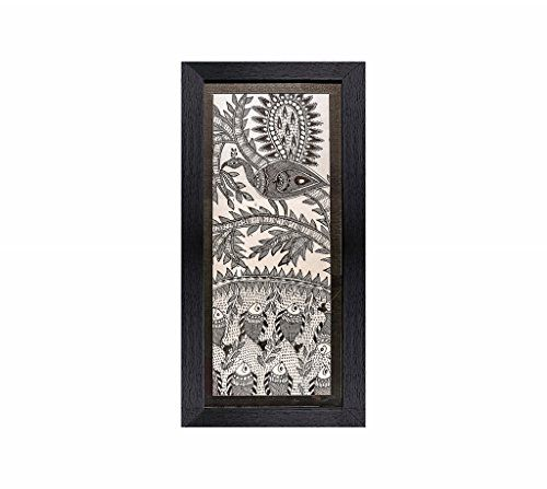 "Madhubani Painting-Traditional Framed Wall Art and Living Room Décor with Unbreakable Acrylic Glass- Handmade Painting on Pure Silk from the Times of Ramayana by Artisans from Rustic India-10""x20"""